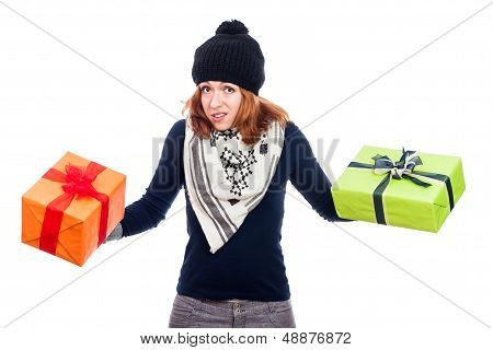 Disappointed Woman With Presents