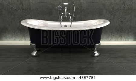 Classic Roll Top Bath And Taps With Shower Attatchment In Contemporary  Interior