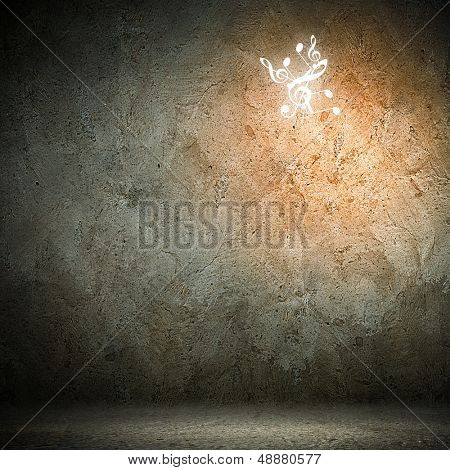 Grey background image with music note symbols