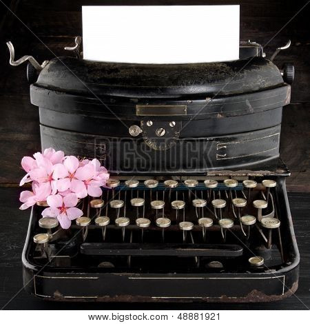 Old Antique Black Vintage Typewriter With Flowers