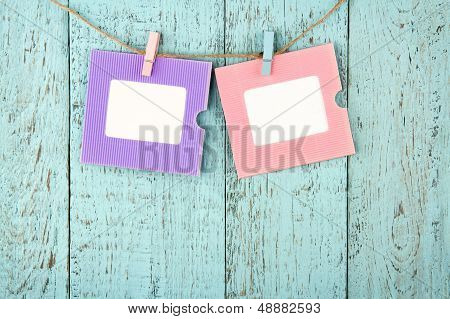 Two Empty Colorful Photo Frames