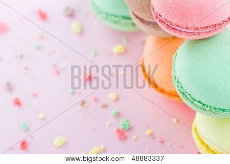 Macaroons On Pastel Pink Background