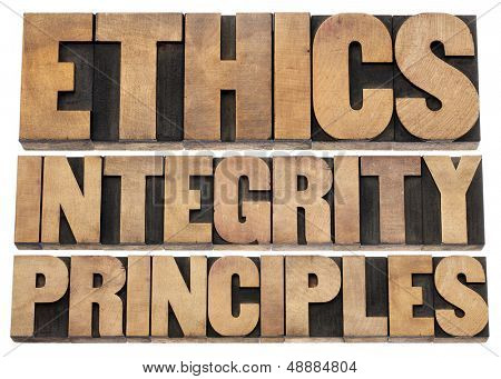 ethics, integrity and principles word abstract - isolated text in vintage letterpress wood type