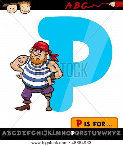 Letter P With Pirate Cartoon Illustration