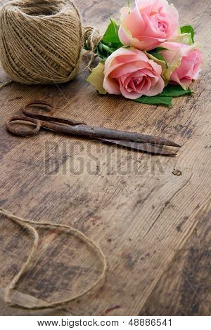 Roses With Old Rusty Antique Scissors