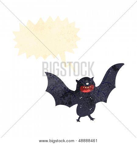 retro cartoon screeching bat
