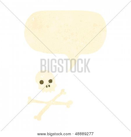 retro cartoon skull and crossbones symbol with speech bubble