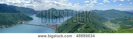 Scenic Panorama Landscape View At Lake Lugano