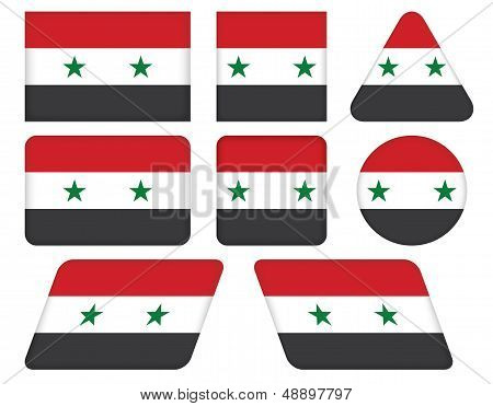 Buttons With Flag Of Syria