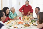 image of turkey dinner  - Family All Together At Christmas Dinner - JPG