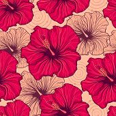 foto of hibiscus  - Vector illustration of seamless pattern with hand drawn hibiscus flowers - JPG