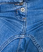 stock photo of crotch  - Detail of crotch area of a pair of denim pants or jeans - JPG