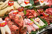 foto of dick  - Sheep offal in meat market - JPG
