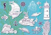Doodle Sea - Hand drawn set of sea symbols, including sailing boat, submarine, dolphin, jellyfish, l