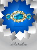 picture of pooja  - vector blue rakhi on stylish background - JPG