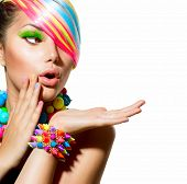 stock photo of nails  - Beauty Girl Portrait with Colorful Makeup - JPG