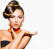 stock photo of lipstick  - Fashion Model Girl Portrait with Yellow and Orange Makeup - JPG