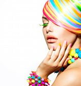 picture of manicure  - Beauty Girl Portrait with Colorful Makeup - JPG