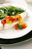 image of halibut  - Poached halibut with peach salsa and green salad - JPG