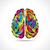 stock photo of stroking  - Creative brain with paint strokes stock vector - JPG