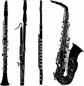 Woodwind Instruments Silhouettes`
