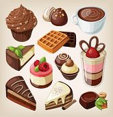 picture of cream cake  - Set of chocolate sweets - JPG