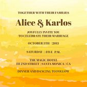 stock photo of ombre  - Wedding Vintage Invitation Card  - JPG