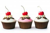 stock photo of cream cake  - Ice cream sundae cupcakes - JPG