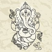 image of indian elephant  - Hindu God Ganesha - JPG