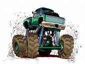 picture of monster-truck  - Vector Cartoon Monster Truck isolated on white - JPG