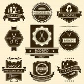 stock photo of hairy  - Set of barber shop badges in retro style - JPG