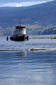 stock photo of penticton  - Old tug boat moored on Lake Okanagan Penticton British Columbia Canada - JPG