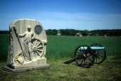 picture of rebs  - Napoleon artillery battery and monument near Angle Gettysburg National Historical Battlefield
