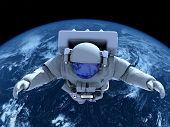 stock photo of orbit  - The astronaut  in outer space - JPG