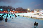 MOSCOW - DEC 9: People are skating on rink in The Central Park of Culture and Rest named after Maxim