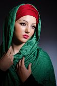 stock photo of niqab  - Muslim woman with headscarf in fashion concept - JPG