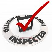 The word Inspected around a check mark and box to illustrate home inspection, or personal evaluation