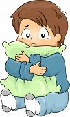 stock photo of crying boy  - Illustration of Kid Boy Crying while Hugging a Pillow - JPG