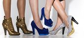 foto of platform shoes  - Three different pairs of women - JPG