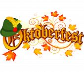 stock photo of bavaria  - Oktoberfest celebration design with Bavarian hat and autumn leaves - JPG