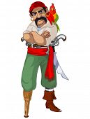 stock photo of pirate  - Illustration of cartoon pirate with parrot - JPG