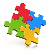 stock photo of jigsaw  - Creative business office teamwork partnership and communication corporate concept - JPG