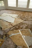 stock photo of leak  - Home Interior Water leaking damaged plasterboard and carpet - JPG