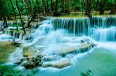 stock photo of deep blue  - Huay Mae Khamin Paradise Waterfall located in deep forest of Thailand. Huay Mae Khamin - Waterfall is so beautiful of waterfall in Thailand Huay Mae Khamin National Park Kanchanaburi Thailand.