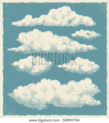 Vintage cloud set. Retro sky background vector design