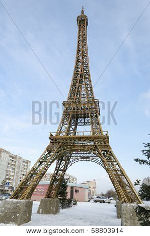 Krasnoyarsk, RU - Nov.09, 2012: Model of the Eiffel Tower in  Nov.09, 2012 in Krasnoyarsk, Russia