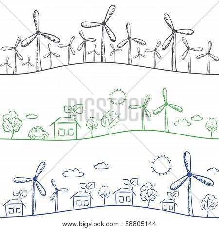 Windmills And Town Seamless Pattern