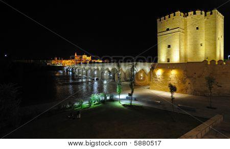 Roman bridge and Calahorra tower at night Cordoba Spain