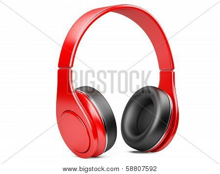 Red Modern Headphones Isolated On White
