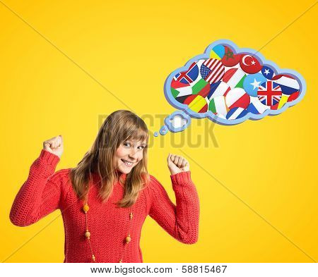 Young Girl Thinking In Idioms Over Yellow Background